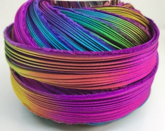 1 yd Shibori Ribbon Hand Dyed Silk Ribbon Purple Passion Bor Brighter