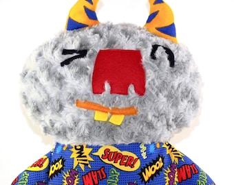 Oomph the Giant Monster Plush, creature, jumbo, lovie, plushie, stuffed animal, gray, t-shirt, soft