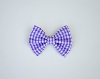 NEW Purple Gingham Bow / Summer - Lavender Fields Bow
