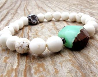 Chrysoprase bracelet, white turquoise, white magnesite, Hill Tribe silver, green gemstone, stretch bracelet, boho bracelet, white stone
