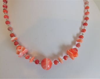 Vintage Orange Art Glass Bead Necklace Jewelry | Agate Glass Costume Jewellery | 1960's Art Glass | Gift Jewelry for Her
