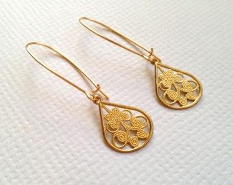 Golden Filigree Long Earrings, Golden Earrings, Filigree Earrings, Elegant Earrings, Wedding Jewelry, BFF Gift, Christmas Gift