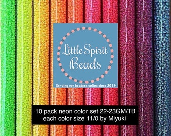 Beads neon large set by Miyuki size 11/0. 10 colors