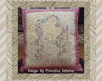 Garden Gate-Primitive Stitchery E-PATTERN-by Primitive Stitches-Instant Download