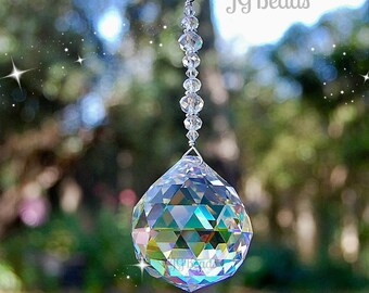 Large Prism Window Crystal Suncatcher, Hanging Rainbow Maker, Home Decor