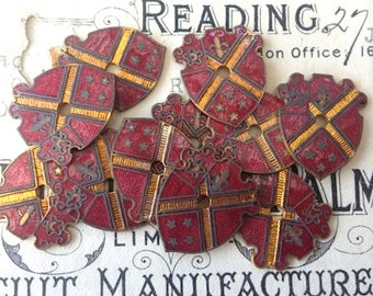 Antique English Pair Copper Red Enamel Heraldic Shields Crest Finding Jewelry Supplies Plaque
