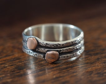 Unisex Rustic Ring band with 14K Rose Gold accents - size 9.25 - Mens ring - women's ring - silver rose gold mixed metal rustic ring band