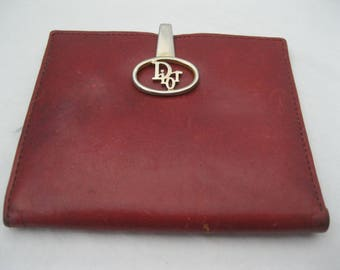 Christian Dior Red Leather Bi-fold Wallet