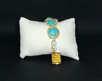 Mayan db couture Turquoise gold mesh Hieroglyphics