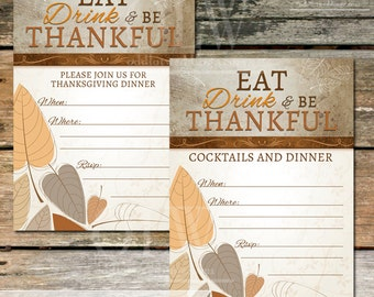 Thanksgiving Invitation - Instant Download - Fall Leaves Eat Drink & Be Thankful DIY Digital Printable