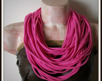 SALE Pink Infinity Multi Strand T shirt Jersey Scarf