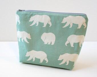 Zipper Pouch Cosmetic Bag - Aqua Bears Diaper Bag Organizer