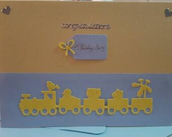 Handmade card for birth of a baby boy; Congratulations; It's a boy; A New Baby Boy