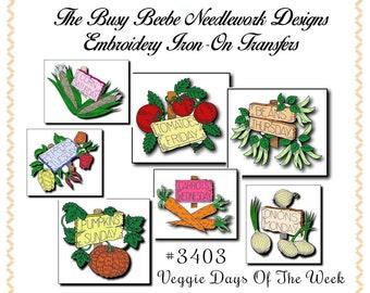 Garden Veggies - Days Of The Week Embroidery Transfer Set Kitchen Towel  #3403