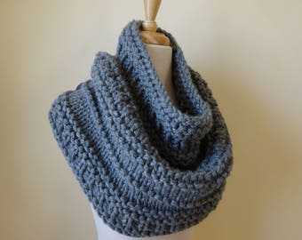 Knit Cowl, Chunky Acrylic Cowl, Infinity Scarf, Circle Scarf, Neck Warmer, Snood, Textured Cowl in Oxford Grey - Ready to Ship Gift for Her