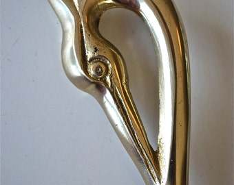 An elegant Arts & Crafts style brass heron coat hook coathook AL76