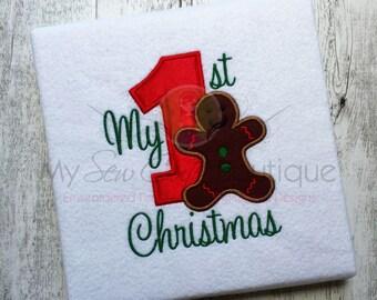 My First Christmas Applique Designs Machine Baby Embroidery - My 1st Christmas Applique Design - Holiday Applique Designs - 8 Sizes