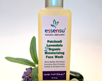 Patchouli Lavendula Organic Moisturizing Shea Butter Botanical Natural Face Wash   All Skin Types   Nourishing   Vegan   No Sulfates - 6 oz