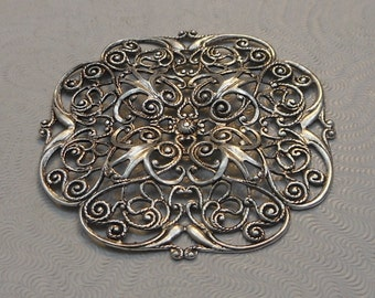 LuxeOrnaments Large Antiqued Sterling Silver Plated Brass Filigree Focal 47mm Dapped (1 pc) F-8287-S