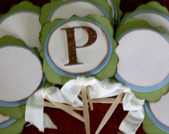 Rustic Charm Customizable Cupcake Toppers