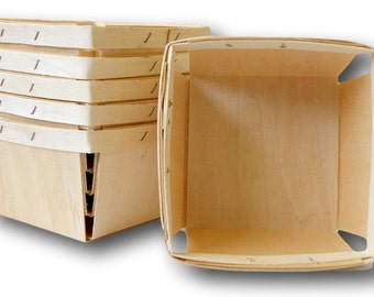 "Wood Berry Baskets, 6 pc, Strawberry Baskets, Pint Size, 4 x 4 x 2.5"""