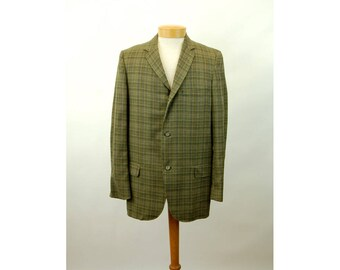 1950s sports coat New Old Stock NOS wool plaid green long mid century Sports jacket Fremont Clothing Size 39