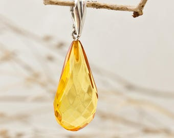 Genuine Faceted Baltic Amber and Sterling Silver Pendant