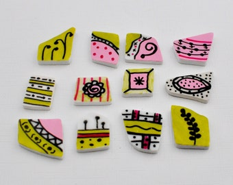 Broken China Hand Painted Tiles - Pink and Green - Set of 12