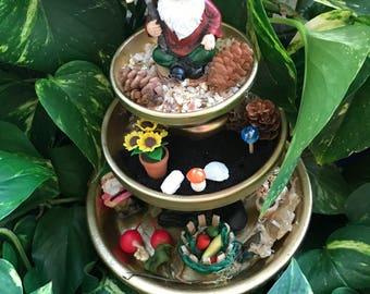 Three Level Garden Gnome Home