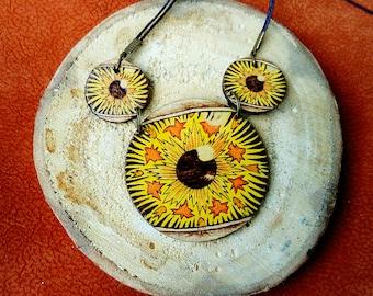 Yellow three eye pendant - Wooden eye necklace - Avant garde pendant -Boho style - Pyrography jewelry