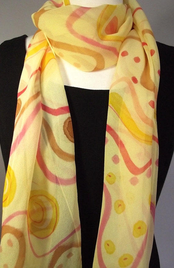 """Hand Painted Silk Chiffon Scarf 13 x 70"""", Rich Yellow with Abstract Pattern in Red, Gold, Caramel and Coral"""