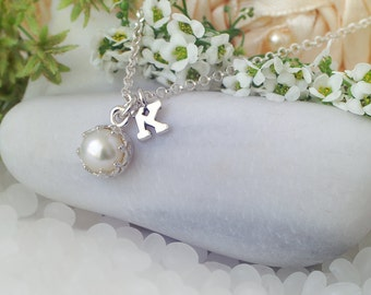 Pearl Necklace, White Pearl, Pearl Jewelry, White Freshwater Pearl Necklace, Initial Jewelry, Initial Necklace, June Birthstone Necklace
