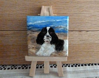 Cocker Spaniel painting, Mini canvas painting with Easel, Dog Art, Hand painted Dog, Miniature Art,