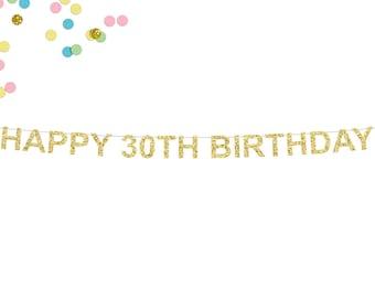 Happy 30th Birthday Glitter Banner | 30th Birthday Party Banner | Birthday Banner | 30th Birthday | 30th Party Decor | Birthday Party Decor