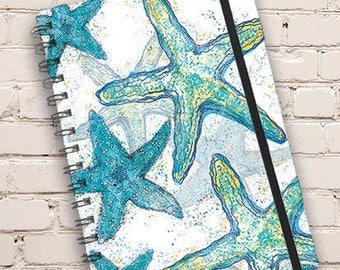 A5 Starfish Print Hardback Spiral Bound Notebook