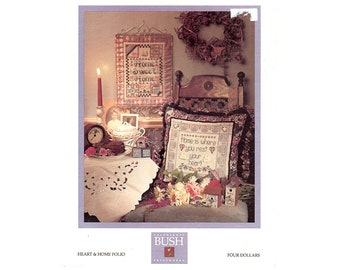 Heart and Home Cross Stitch Leaflet, Shepherd's Bush Cross Stitch Patterns, Home Sweet Home Cross Stitch, Heart Pattern, by NewYorkTreasures