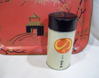Asian Cylinder Tin Container, Asian Characters, Tin Black Top