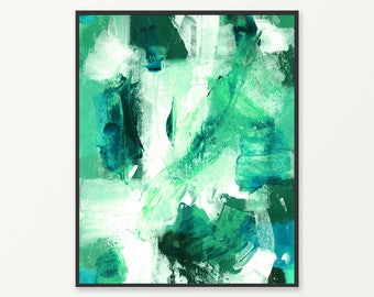 Green abstract painting instant download print, printable abstract print, green wall art, abstract print, green and white wall art