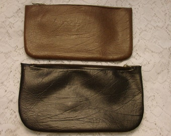 Vintage Set of Two Cosmetic Faux Leather Zippered Bags** FREE GIFT