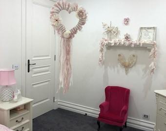 Girls nursery, Shabby Chic Garland, Handmade Pearls Lace Embellishments