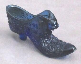 Fenton Hobnail Shoe deep cobalt blue