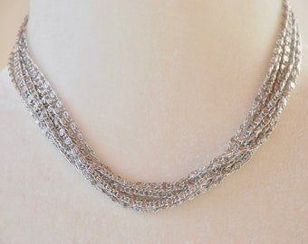 Vintage SARAH COVENTRY Necklace Choker Multistrand Silver Tone Chain Lightweight Mid Century 1960's // Vintage Designer Costume Jewelry