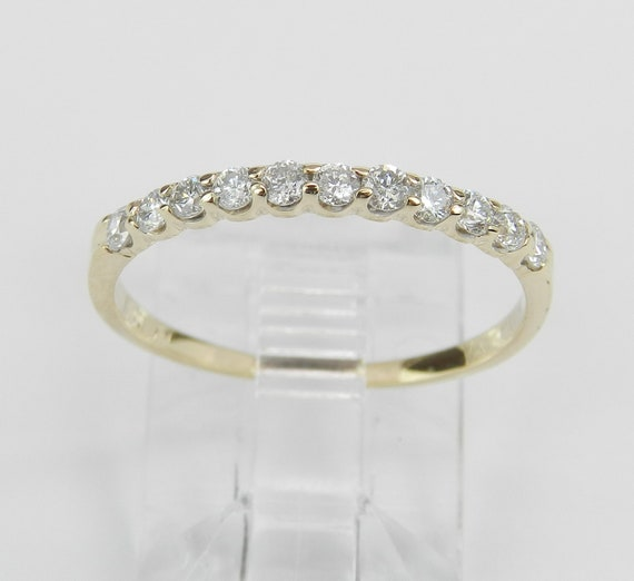 Diamond Wedding Ring Anniversary Band 14K Yellow Gold Stackable Natural Size 6