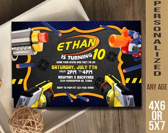 Nerf, Nerf Invitation, Nerf Party, Nerf Birthday, Nerf Card, Nerf Gun, Grab Your Gun and Ammo!!, Nerf Printable UF0224