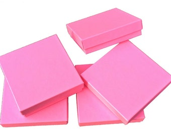 """20 Pack -3.5"""" x 3.5"""" x 1"""" Matte Pink, Cotton-Lined Jewelry Boxes, Presentation Boxes, Solid Color Design Gift Boxes, 2 Part - Top & Bottom"""
