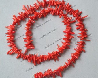 17 inch full strand of Red small Stick Coral bead, free form chips irregular coral beads,coral nugget beads 2-3x7-17mm thin coral red bead