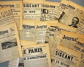 Lot 26 pages - French newspaper reproduction from 1900 to 1945 - for all life projects