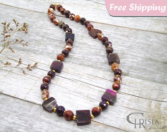 Gemstone Necklace, Natural Stone Necklace, Womens Necklace, Necklace Gift, Beaded Necklace, Gemstone Jewelry, Purple Necklace, Gift for Her