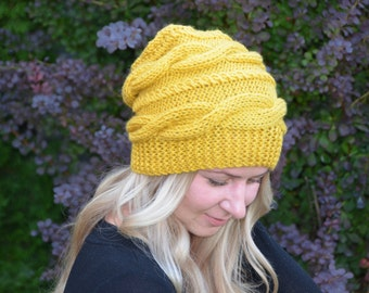 Slouchy Hat Slouch Beanie Women Hat Cable Hat Winter Hat Chunky Women Hand Knit Cable Knit Beanie Mustard