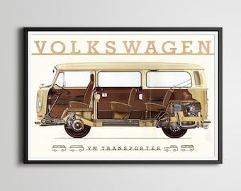 1967-72 Volkswagen Transporter Full-Size POSTER! - 24x36 - VW Van - VW Bus - Vintage - Antique - Custom Prints